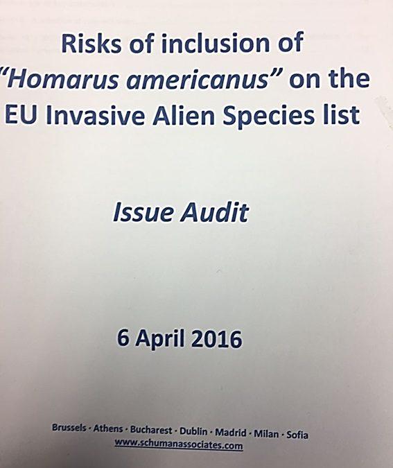 UNIÓN EUROPEA: Riesgo de inclusión del Bogavante vivo de Canadá/americano en la lista de especies invasoras